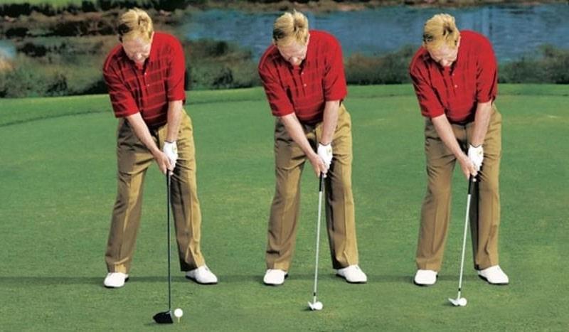 Tư thế chuẩn khi người chơi học đánh golf Driver và gậy sắt