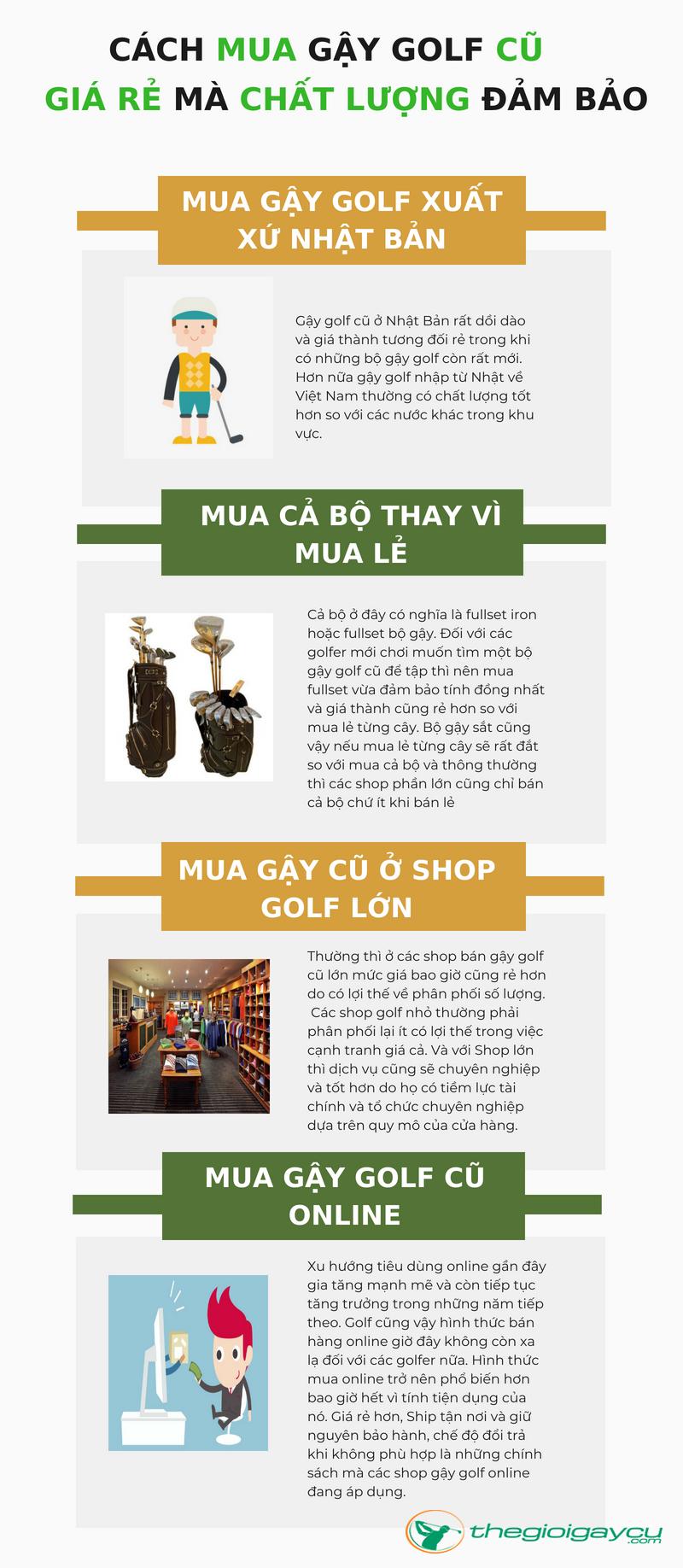 4 Mẹo khi chọn mua gậy golf cũ giá rẻ ở Việt Nam
