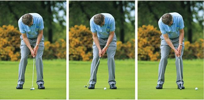 không sử dụng cổ tay khi gạt bóng kỹ thuật putting golf