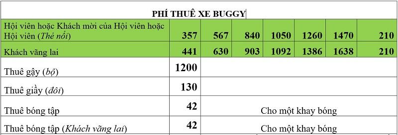 Mức giá thuê dịch vụ xe Buggy tạisân golf Tam Đảo