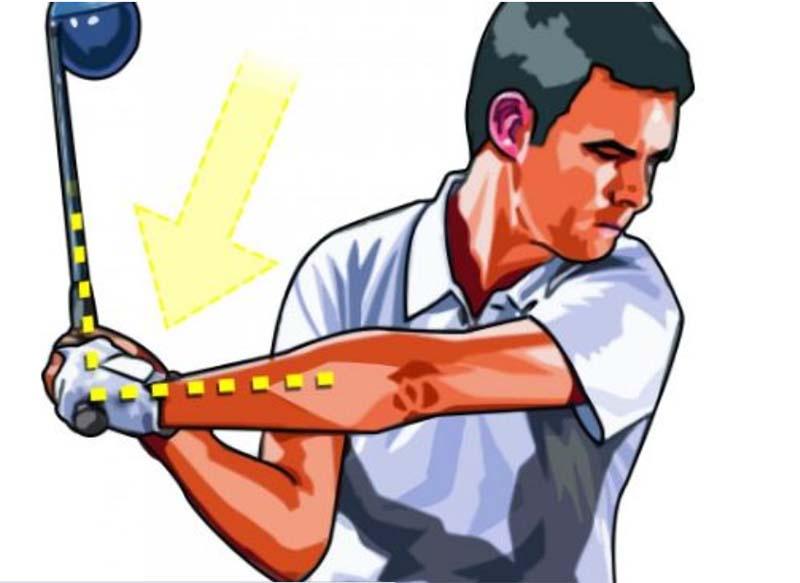 Bẻ cổ tay là bước quan trọng khi thực hiện backswing và downswing golf