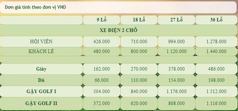 Bảng giá các dịch vụ đi kèm trên sân