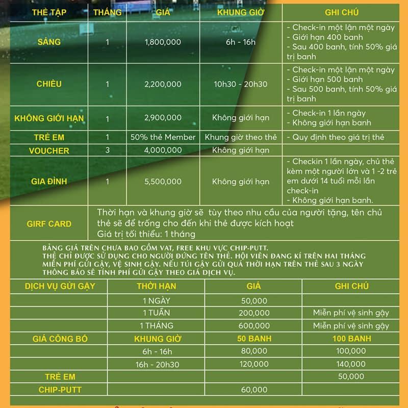 Bảng giá chi tiết hội viên