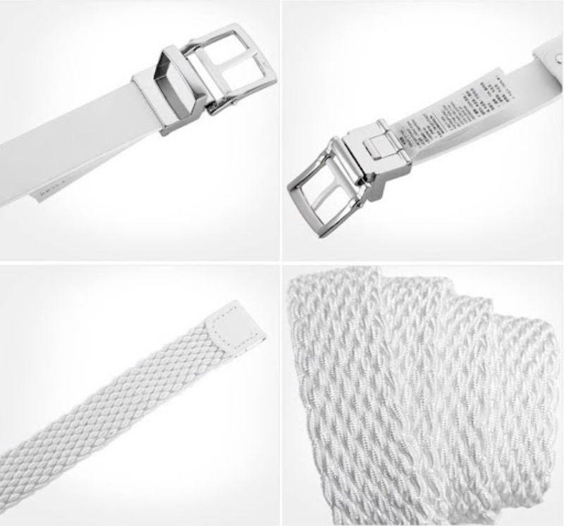 Phần dây lưng được làm từ da và sợ thun đan của thắt lưng golf Nike