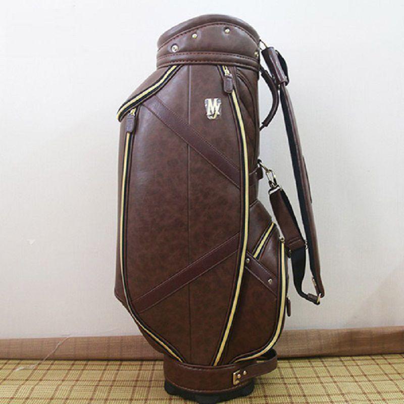 Túi golf Majesty da sần màu nâu sang trọng