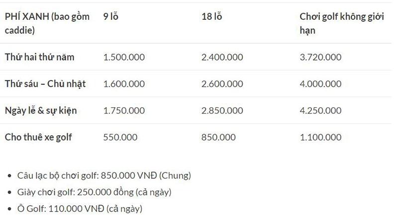 Bảng giá chi tiết các dịch vụ của sân golf Đà Lạt