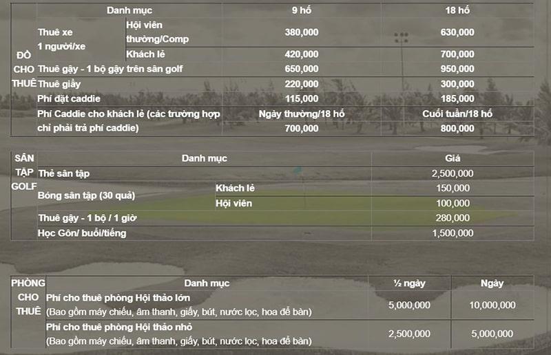Bảng giá dịch vụ tại sân golf