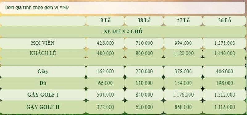 Bảng giá dịch vụ của sân golf