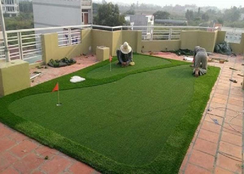 Quá trình thi công, lắp đặt mini golf tại sân thượng